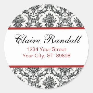 Damask Return Address Label  (#LABL 009) Round Sticker