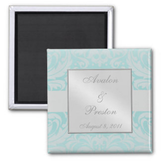 Damask Ribbon Baby Blue Save The Date Magnet