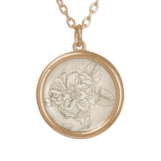 Damask Rose Gold Plated Necklace