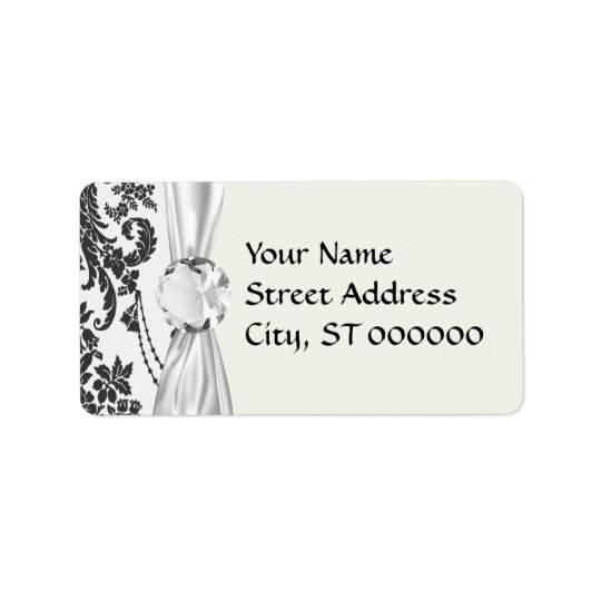 damask roses white and black address label