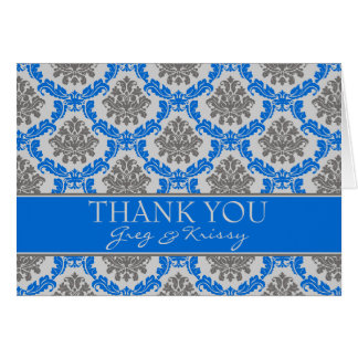 Damask Royal Blue Thank You Note Cards