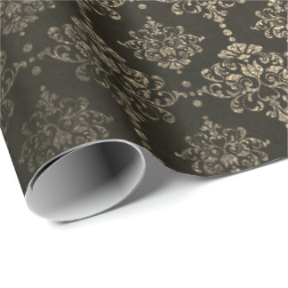Damask Royal Chic Golden Velvet Black Gold Wrapping Paper