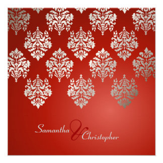 Damask/ruby red/faux silver wedding invitations