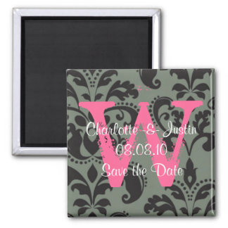 damask; save the date refrigerator magnets