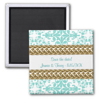 Damask Save the Date Magnet  Lt Blue White Gold 01