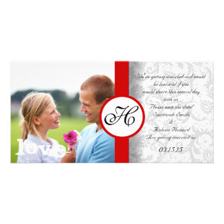 Damask Save the Date Personalized Photo Card