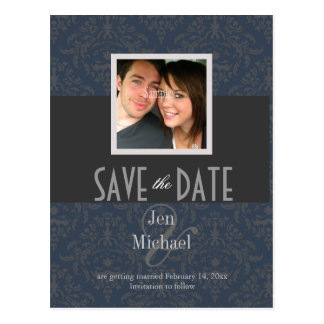 Damask, Save the Date Photo postcards,