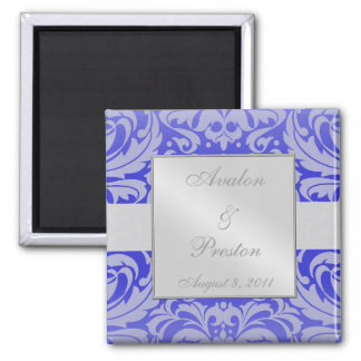 Damask Scroll Ribbon Blue Save The Date Magnet