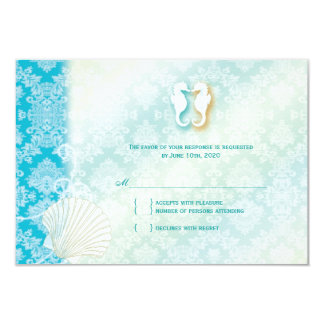 Damask Sea Horse Summer Beach Wedding RSVP 9 Cm X 13 Cm Invitation Card