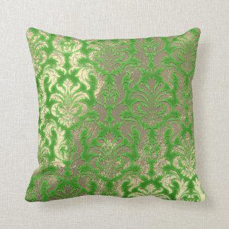 Damask Sepia Gold  Metallic Greenery Limon Cushion