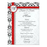 Damask Side Borders Red Trim Wedding Menu 17 Cm X 22 Cm Invitation Card