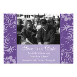 Damask Sides Photo Save The Dates (Purple) Personalized Announcement