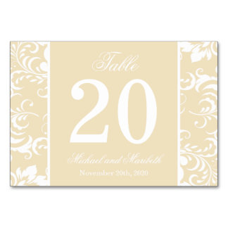 Damask Sides Table Numbers (Cream / White) Table Cards