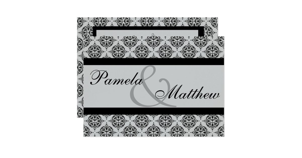 Black And Silver Wedding Invitations: Damask Silver And Black Formal Wedding Invitation