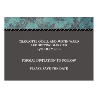 damask silver; save the date business cards