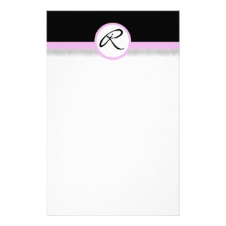Damask Single Line Pink Monogram Stationery