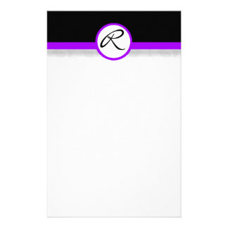 Damask Single Line Purple Monogram Stationery