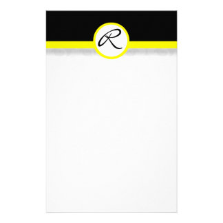 Damask Single Line Yellow Monogram Stationery