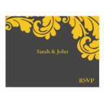 Damask Slate Grey and Strong Yellow RSVP Post Card