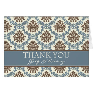 Damask Smoky Blue and Brown Thank You Note Cards