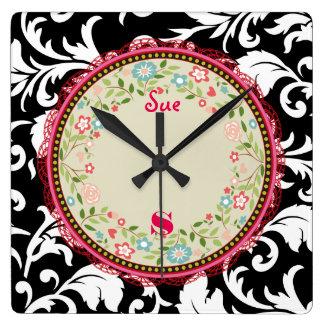Damask SoapBox Pink Ribbon Square Wall Clock