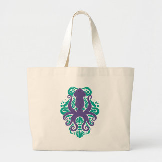 Damask Squid Ultra Violet on Arcadia Large Tote Bag