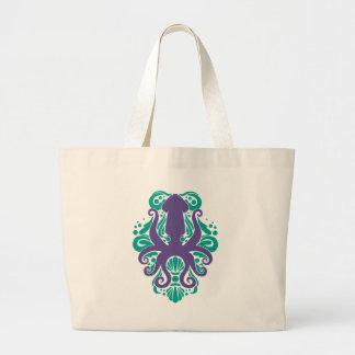 Damask Squid Ultra Violet on Arcadia Large Tote Bag