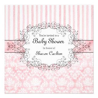 Damask Stripe Baby Girl Shower Invitation