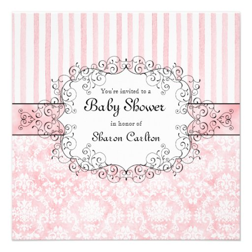 Damask & Stripe Baby Girl Shower Invitation