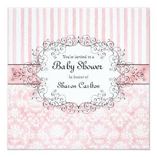 Damask & Stripe Baby Girl Shower Invitation