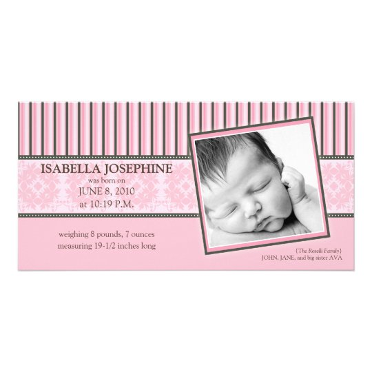Damask & Stripes Baby Pink Birth Announcement Card