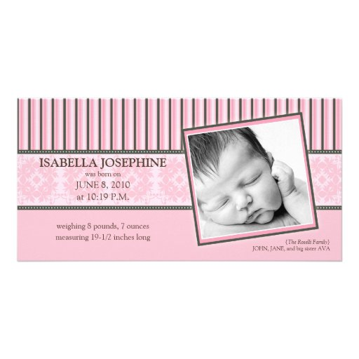 Damask & Stripes Baby Pink Birth Announcement Customized Photo Card