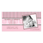 Damask & Stripes Baby Pink Birth Announcement Picture Card