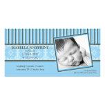Damask & Stripes Blue Birth Announcement