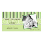 Damask & Stripes Lime Green Birth Announcement Custom Photo Card