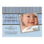 Damask & Stripes Periwinkle Birth Announcement