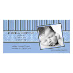 Damask & Stripes Periwinkle Birth Announcement Personalized Photo Card