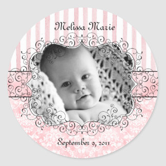 Damask & Stripes Pink Party Favor Stickers