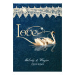 Damask Swan Elegance Blue - Wedding Invitation