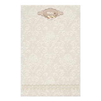 Damask  Swan Elegance Stationery