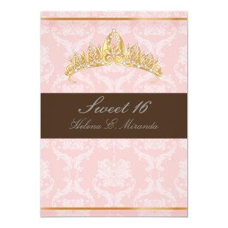 DAMASK SWEET 16/TIARA/PINK/CHOCOLATE CARD