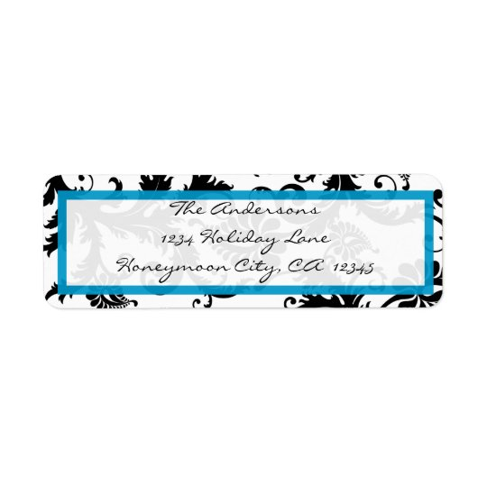 Damask Swirl Bright Aqua & Black Address Label