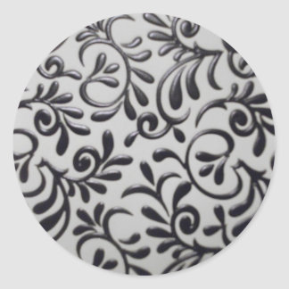 Damask Swirl Round Sticker