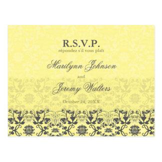 Damask Swirls Lace Butter RSVP Wedding Postcard