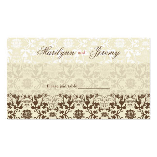 Damask Swirls Lace Coffee Custom Table /Place Card Business Card Template
