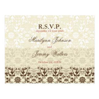 Damask Swirls Lace Coffee RSVP Wedding Postcard
