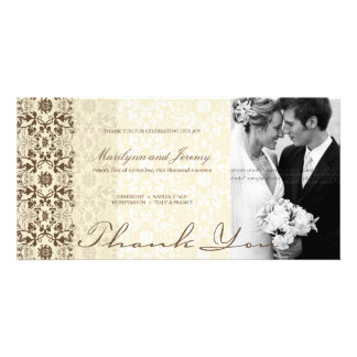 Damask Swirls Lace Coffee Thank You Photo Card