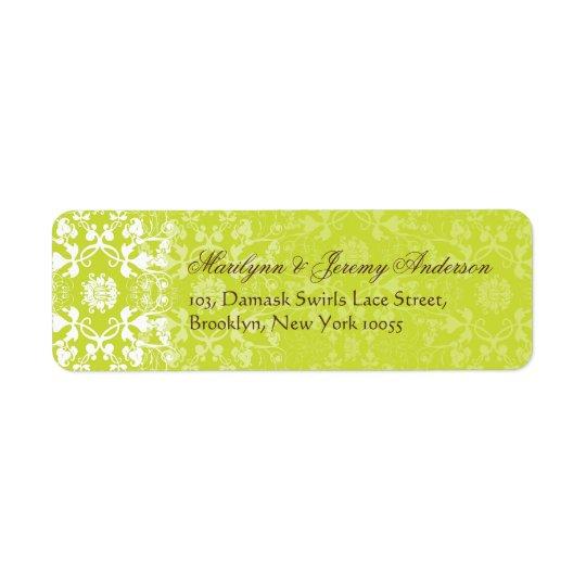 Damask Swirls Lace Lime Custom Label Return Address Label