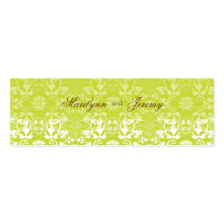 Damask Swirls Lace Lime Custom Thank You Gift Tag Pack Of Skinny Business Cards