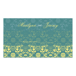 Damask Swirls Lace Peacock Custom Table/Place Card Business Card